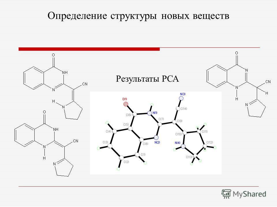 Определение структуры новых веществ Результаты РСА