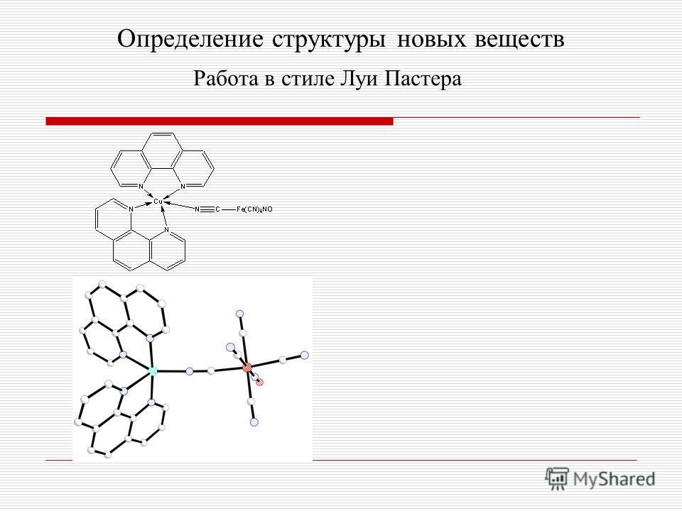 Определение структуры новых веществ Работа в стиле Луи Пастера