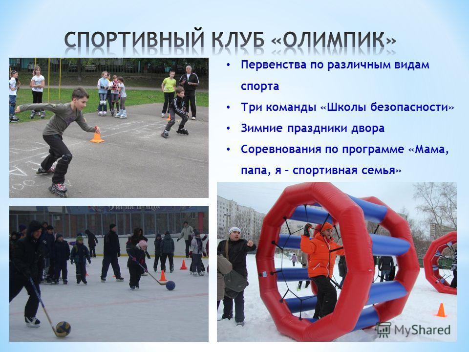 Первенства по различным видам спорта Три команды «Школы безопасности» Зимние праздники двора Соревнования по программе «Мама, папа, я – спортивная семья»