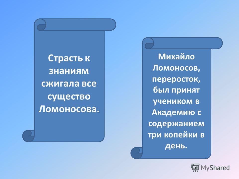 Михайло Ломоносов, переросток, был принят учеником в Академию с содержанием три копейки в день. Страсть к знаниям сжигала все существо Ломоносова.