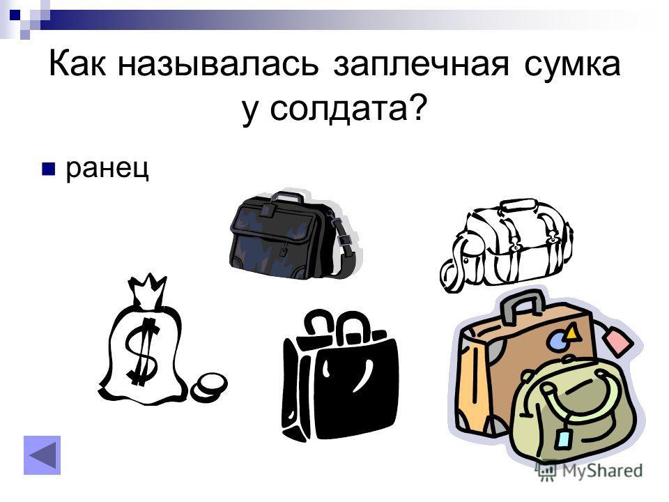 Как называлась заплечная сумка у солдата? ранец