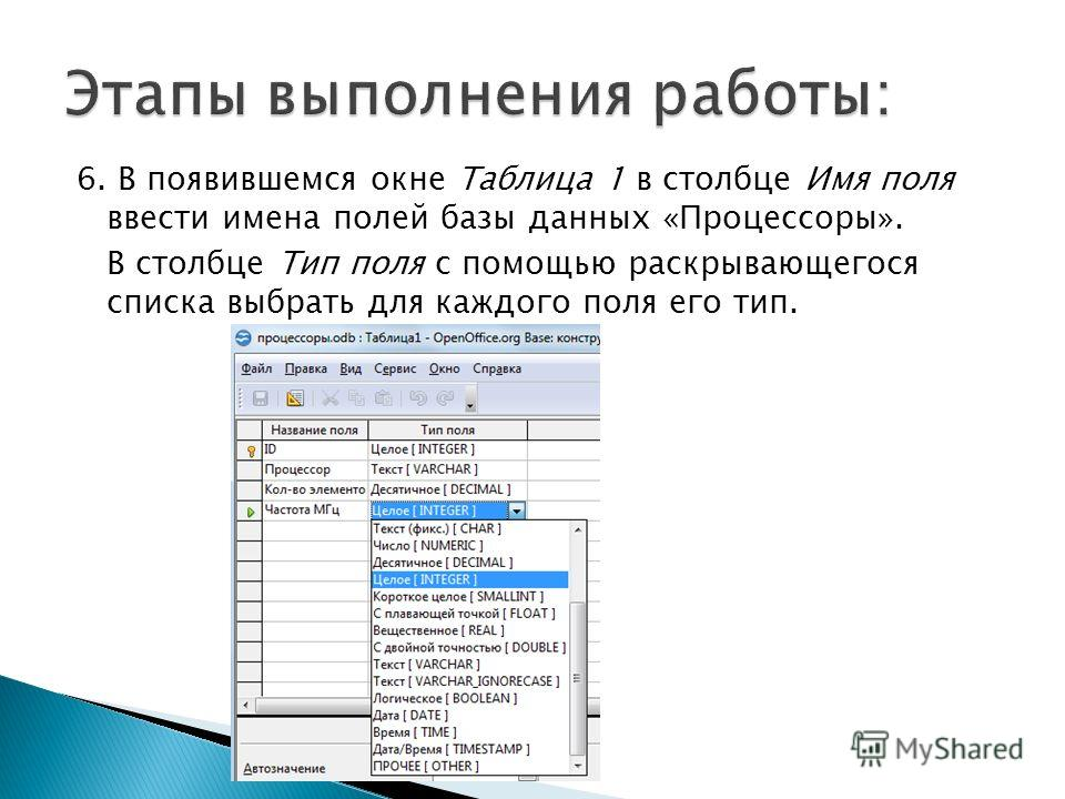 6. В появившемся окне Таблица 1 в столбце Имя поля ввести имена полей базы данных «Процессоры». В столбце Тип поля с помощью раскрывающегося списка выбрать для каждого поля его тип.