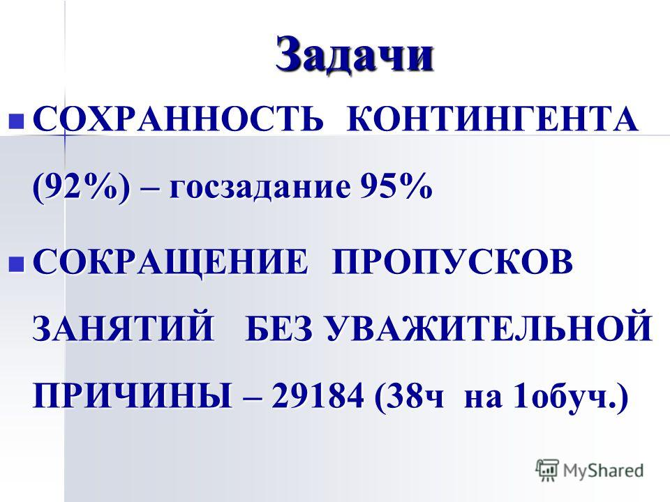 Задачи СОХРАННОСТЬ КОНТИНГЕНТА (92%) – госзадание 95% СОХРАННОСТЬ КОНТИНГЕНТА (92%) – госзадание 95% СОКРАЩЕНИЕ ПРОПУСКОВ ЗАНЯТИЙ БЕЗ УВАЖИТЕЛЬНОЙ ПРИЧИНЫ – 29184 (38 ч на 1 обуч.) СОКРАЩЕНИЕ ПРОПУСКОВ ЗАНЯТИЙ БЕЗ УВАЖИТЕЛЬНОЙ ПРИЧИНЫ – 29184 (38 ч н