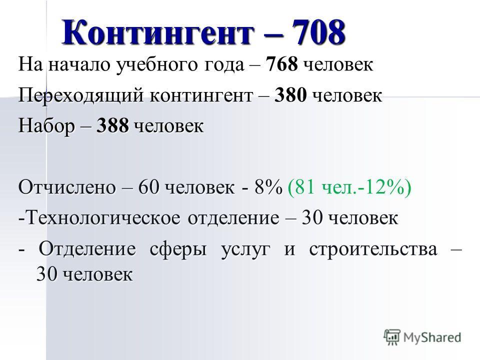 Контингент – 708 На начало учебного года – 768 человек Переходящий контингент – 380 человек Набор – 388 человек Отчислено – 60 человек - 8% (81 чел.-12%) -Технологическое отделение – 30 человек - Отделение сферы услуг и строительства – 30 человек