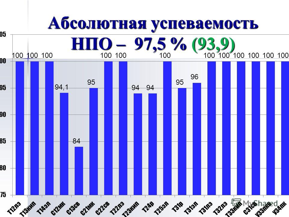 Абсолютная успеваемость НПО – 97,5 % (93,9)