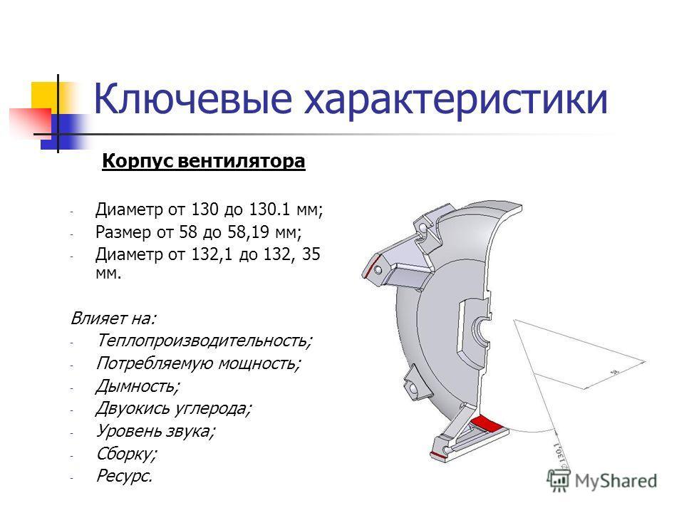 Ключевые характеристики Корпус вентилятора - Диаметр от 130 до 130.1 мм; - Размер от 58 до 58,19 мм; - Диаметр от 132,1 до 132, 35 мм. Влияет на: - Теплопроизводительность; - Потребляемую мощность; - Дымность; - Двуокись углерода; - Уровень звука; -