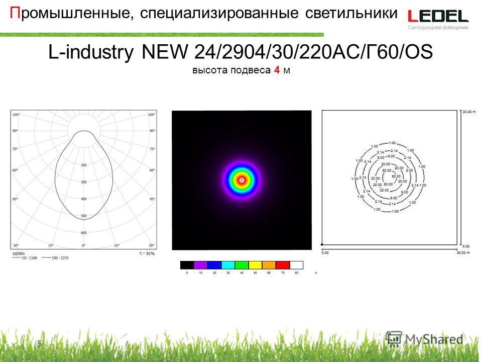 Промышленные, специализированные светильники L-industry NEW 24/2904/30/220AC/Г60/OS высота подвеса 4 м 5