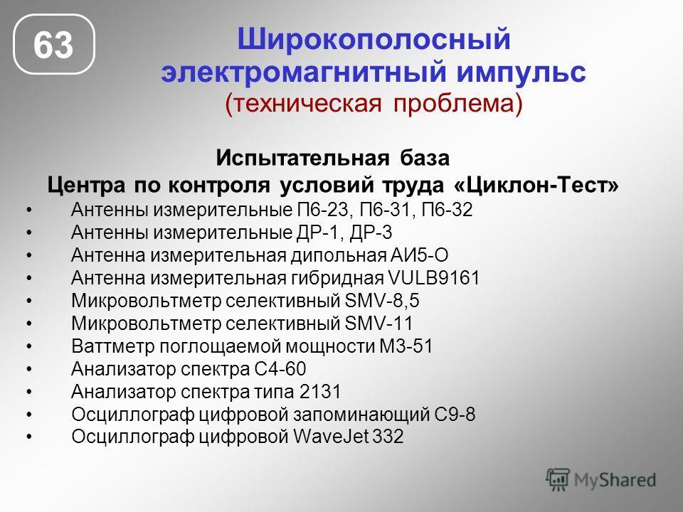 Широкополосный электромагнитный импульс (техническая проблема) 63 Испытательная база Центра по контроля условий труда «Циклон-Тест» Антенны измерительные П6-23, П6-31, П6-32 Антенны измерительные ДР-1, ДР-3 Антенна измерительная дипольная АИ5-О Антен