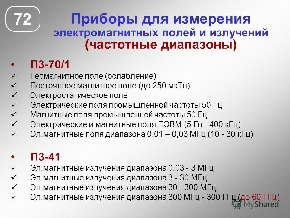 Приборы для измерения электромагнитных полей и излучений (частотные диапазоны) 72 П3-70/1 Геомагнитное поле (ослабление) Постоянное магнитное поле (до 250 мк Тл) Электростатическое поле Электрические поля промышленной частоты 50 Гц Магнитные поля про