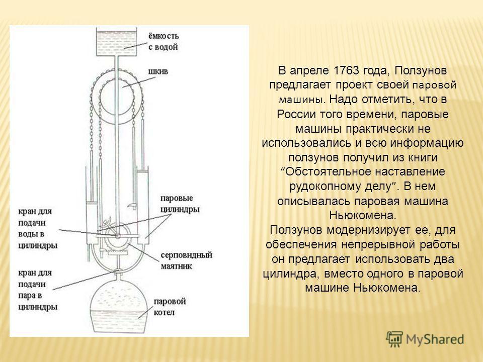 В апреле 1763 года, Ползунов