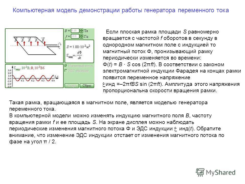Если плоская рамка площади S равномерно вращается с частотой f оборотов в секунду в однородном магнитном поле с индукцией то магнитный поток Φ, пронизывающий рамку периодически изменяется во времени: Φ(t) = B · S cos (2πft). В соответствии с законом