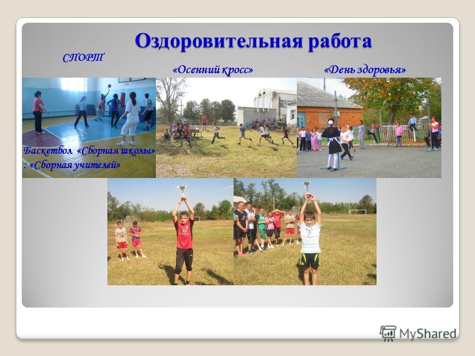 Оздоровительная работа Оздоровительная работа СПОРТ «Осенний кросс» «День здоровья» Баскетбол «Сборная школы» : «Сборная учителей»
