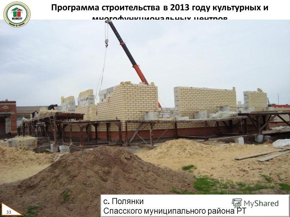 Программа строительства в 2013 году культурных и многофункциональных центров 33 с. Полянки Спасского муниципального района РТ 33