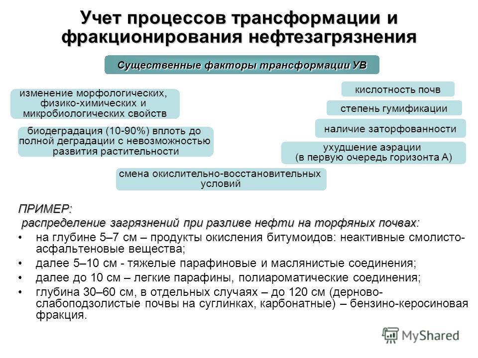 Учет процессов трансформации и фракционирования нефтезагрязнения ПРИМЕР: распределение загрязнений при разливе нефти на торфяных почвах распределение загрязнений при разливе нефти на торфяных почвах: на глубине 5–7 см – продукты окисления битумоидов: