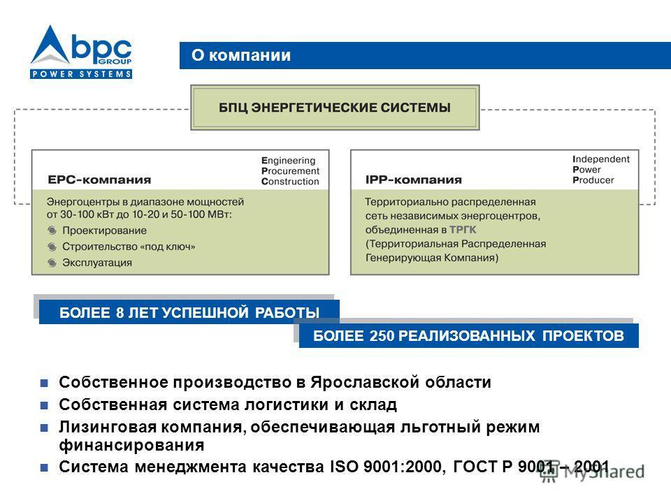 О компании Собственное производство в Ярославской области Собственная система логистики и склад Лизинговая компания, обеспечивающая льготный режим финансирования Система менеджмента качества ISO 9001:2000, ГОСТ Р 9001 – 2001 БОЛЕЕ 8 ЛЕТ УСПЕШНОЙ РАБО