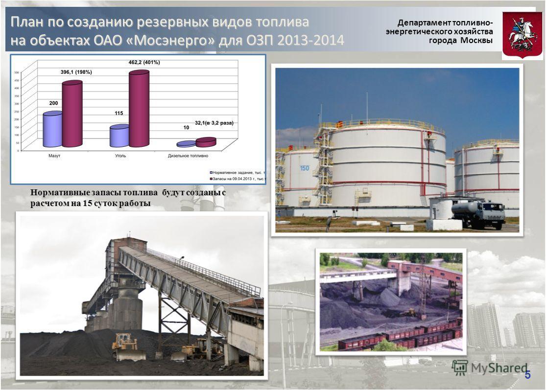 План по созданию резервных видов топлива на объектах ОАО «Мосэнерго» для ОЗП 2013-2014 Департамент топливно- энергетического хозяйства города Москвы 5 5 Нормативные запасы топлива будут созданы с расчетом на 15 суток работы