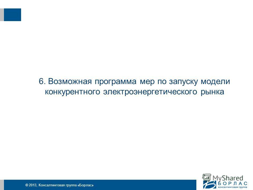 © 2013, Консалтинговая группа «Борлас» 6. Возможная программа мер по запуску модели конкурентного электроэнергетического рынка