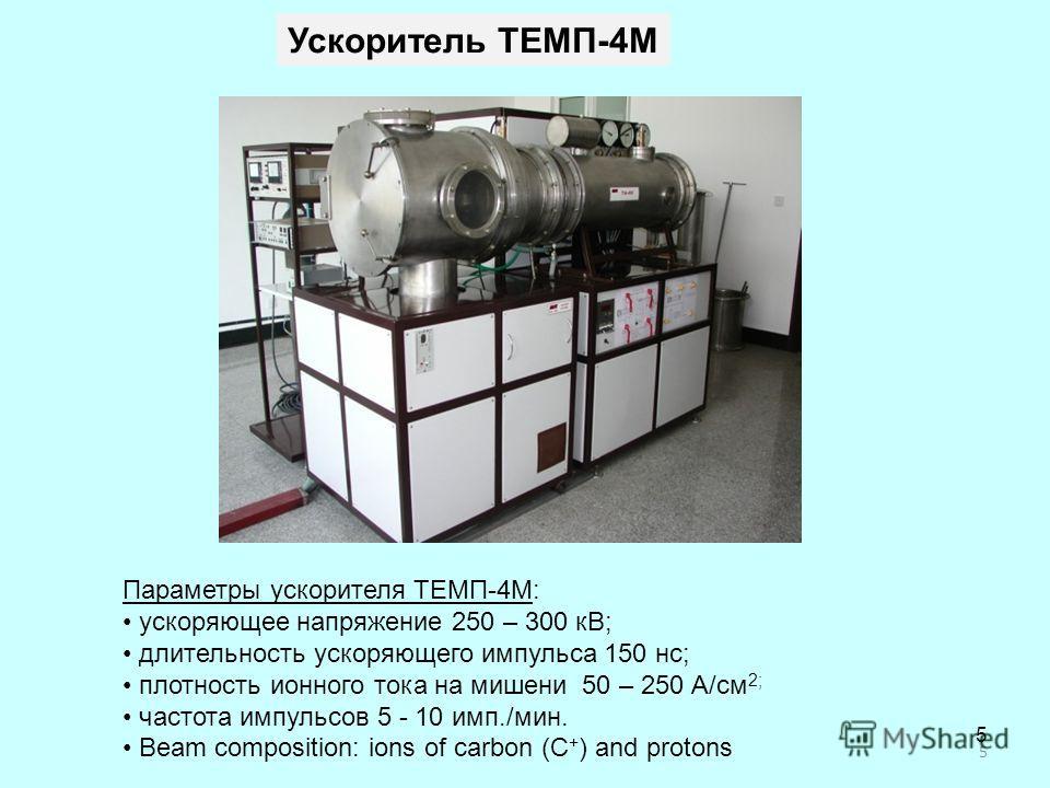 Параметры ускорителя ТЕМП-4М: ускоряющее напряжение 250 – 300 кВ; длительность ускоряющего импульса 150 нс; плотность ионного тока на мишени 50 – 250 А/см 2; частота импульсов 5 - 10 имп./мин. Beam composition: ions of carbon (C + ) and protons 5 Уск