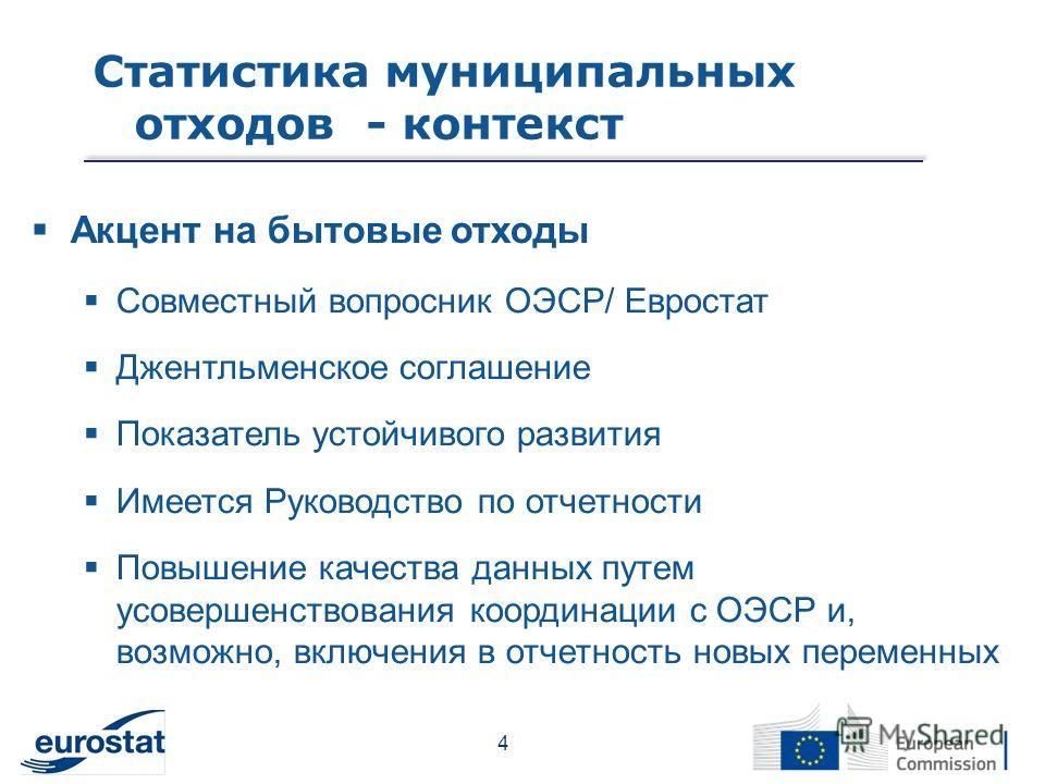 Акцент на бытовые отходы Совместный вопросник ОЭСР/ Евростат Джентльменское соглашение Показатель устойчивого развития Имеется Руководство по отчетности Повышение качества данных путем усовершенствования координации с ОЭСР и, возможно, включения в от