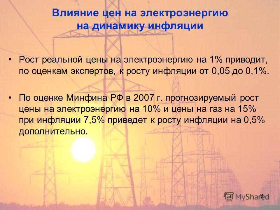 3 Влияние цен на электроэнергию на динамику инфляции Рост реальной цены на электроэнергию на 1% приводит, по оценкам экспертов, к росту инфляции от 0,05 до 0,1%. По оценке Минфина РФ в 2007 г. прогнозируемый рост цены на электроэнергию на 10% и цены