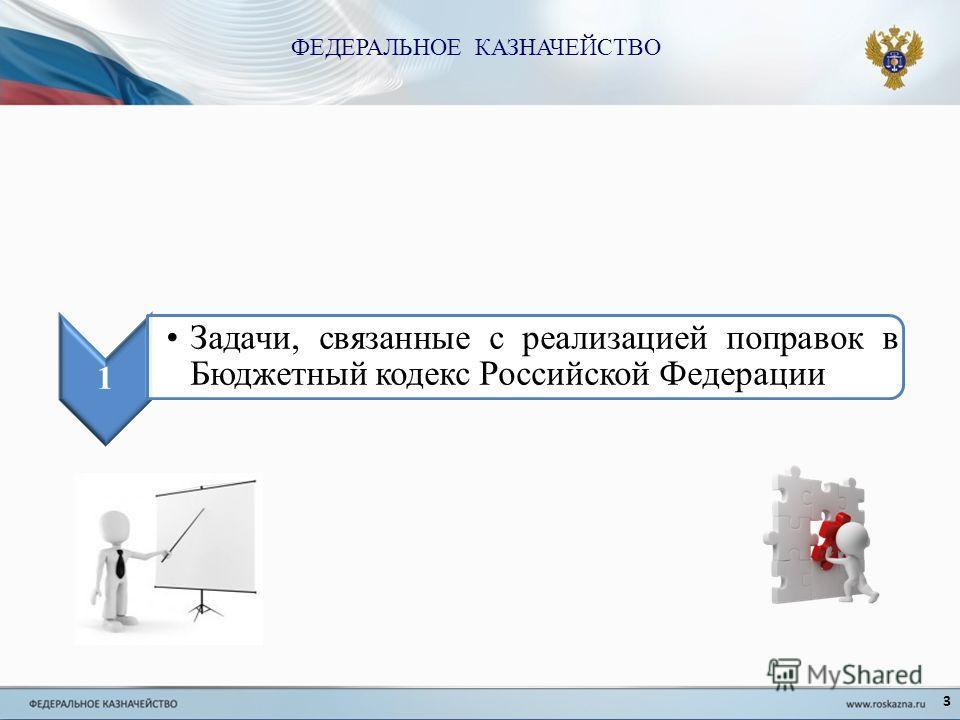 3 1 Задачи, связанные с реализацией поправок в Бюджетный кодекс Российской Федерации ФЕДЕРАЛЬНОЕ КАЗНАЧЕЙСТВО
