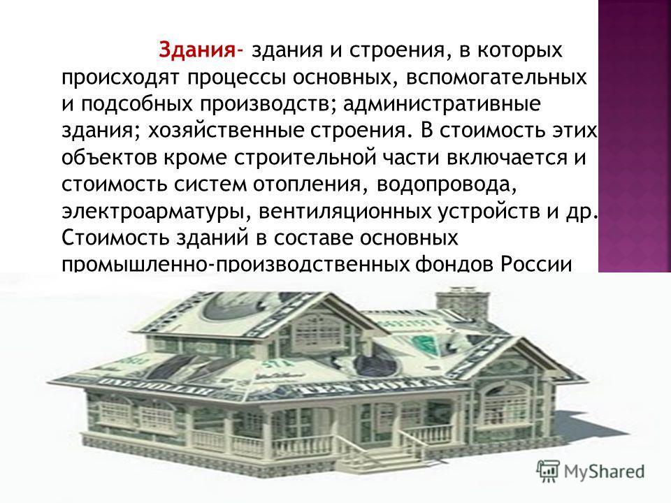 Здания- здания и строения, в которых происходят процессы основных, вспомогательных и подсобных производств; административные здания; хозяйственные строения. В стоимость этих объектов кроме строительной части включается и стоимость систем отопления, в