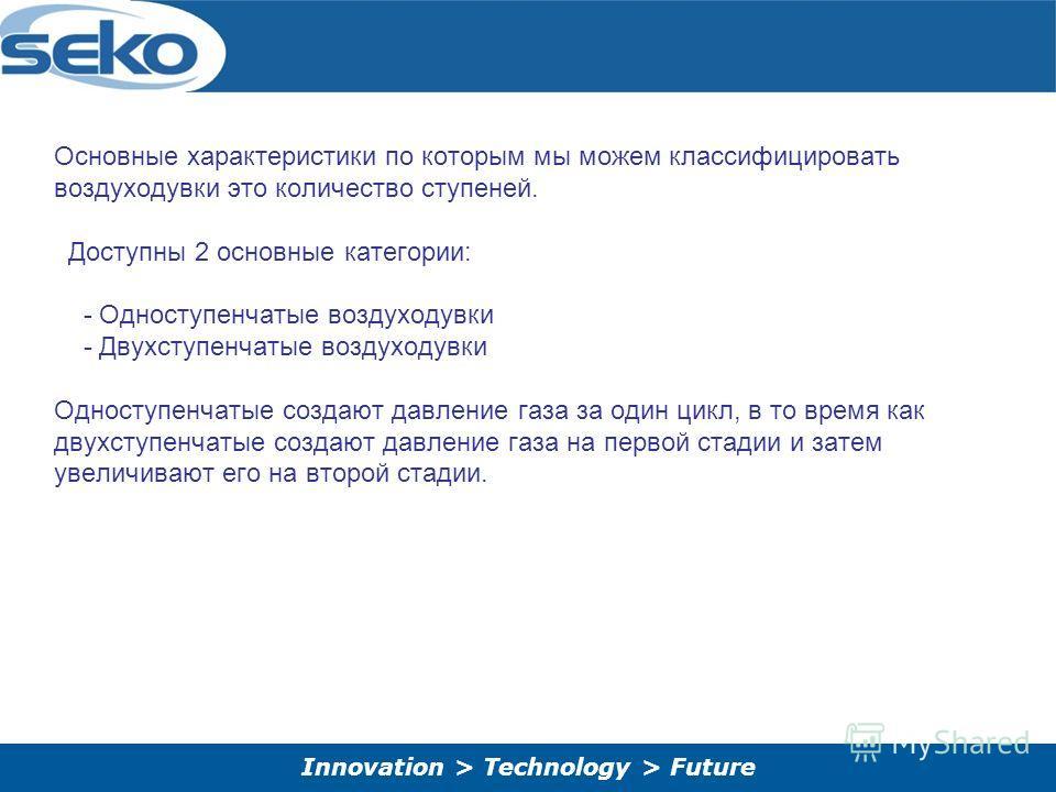 Innovation > Technology > Future Основные характеристики по которым мы можем классифицировать воздуходувки это количество ступеней. Доступны 2 основные категории: - Одноступенчатые воздуходувки - Двухступенчатые воздуходувки Одноступенчатые создают д