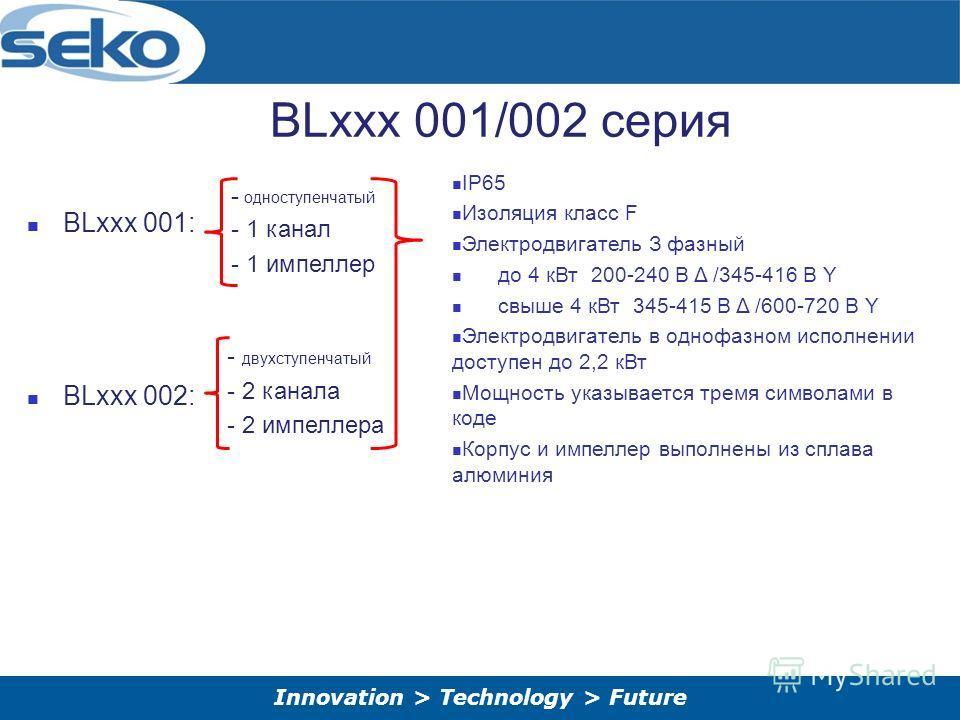 Innovation > Technology > Future BLxxx 001/002 серия BLxxx 001: BLxxx 002: - одноступенчатый - 1 канал - 1 импеллер - двухступенчатый - 2 канала - 2 импеллера IP65 Изоляция класс F Электродвигатель З фазный до 4 к Вт 200-240 В Δ /345-416 В Y свыше 4