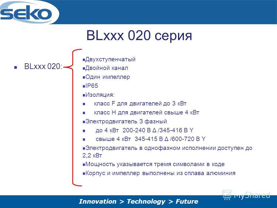 Innovation > Technology > Future BLxxx 020 серия BLxxx 020: Двухступенчатый Двойной канал Один импеллер IP65 Изоляция: класс F для двигателей до 3 к Вт класс H для двигателей свыше 4 к Вт Электродвигатель З фазный до 4 к Вт 200-240 В Δ /345-416 В Y с