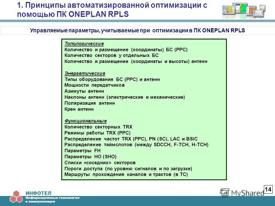 ИНФОТЕЛ Информационные технологии и коммуникации 1. Принципы автоматизированной оптимизации с помощью ПК ONEPLAN RPLS 14 Управляемые параметры, учитываемые при оптимизации в ПК ONEPLAN RPLS Топологические Количество и размещение (координаты) БС (РРС)
