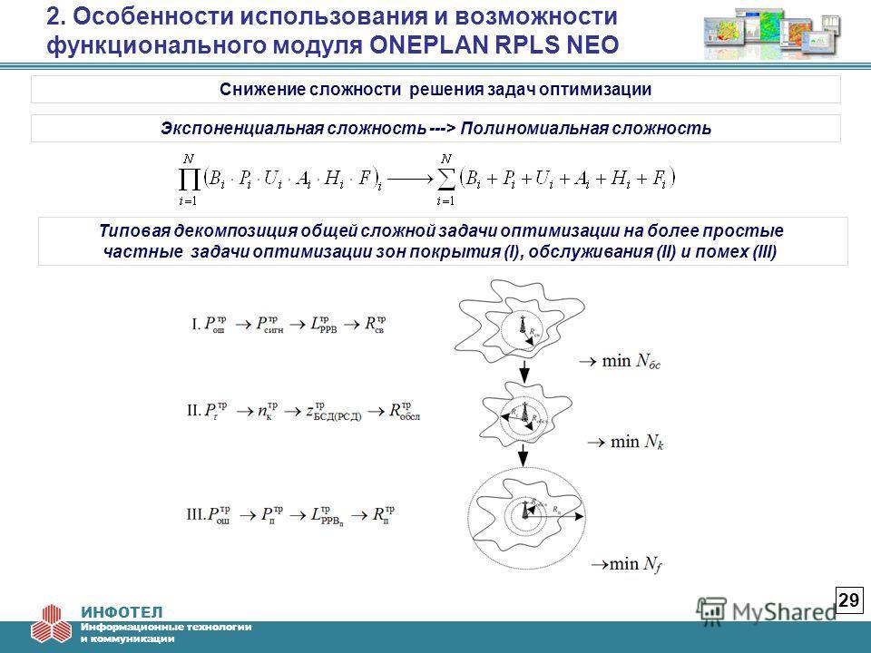 ИНФОТЕЛ Информационные технологии и коммуникации 2. Особенности использования и возможности функционального модуля ONEPLAN RPLS NEO 29 Снижение сложности решения задач оптимизации Экспоненциальная сложность ---> Полиномиальная сложность Типовая деком