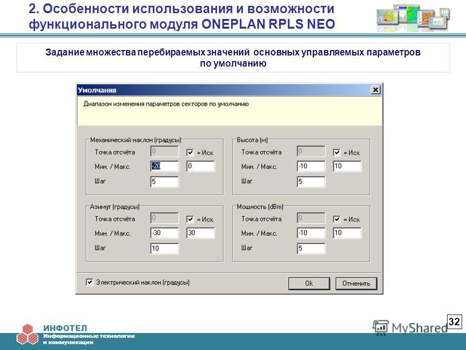ИНФОТЕЛ Информационные технологии и коммуникации 2. Особенности использования и возможности функционального модуля ONEPLAN RPLS NEO 32 Задание множества перебираемых значений основных управляемых параметров по умолчанию