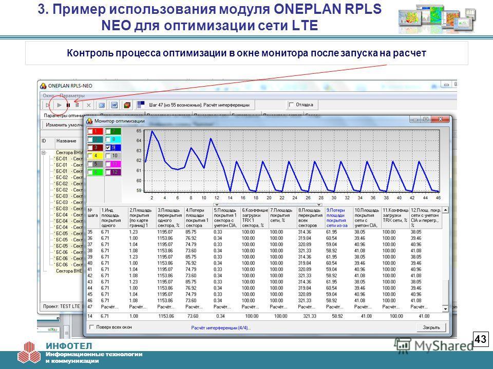 ИНФОТЕЛ Информационные технологии и коммуникации 3. Пример использования модуля ONEPLAN RPLS NEO для оптимизации сети LTE 43 Контроль процесса оптимизации в окне монитора после запуска на расчет