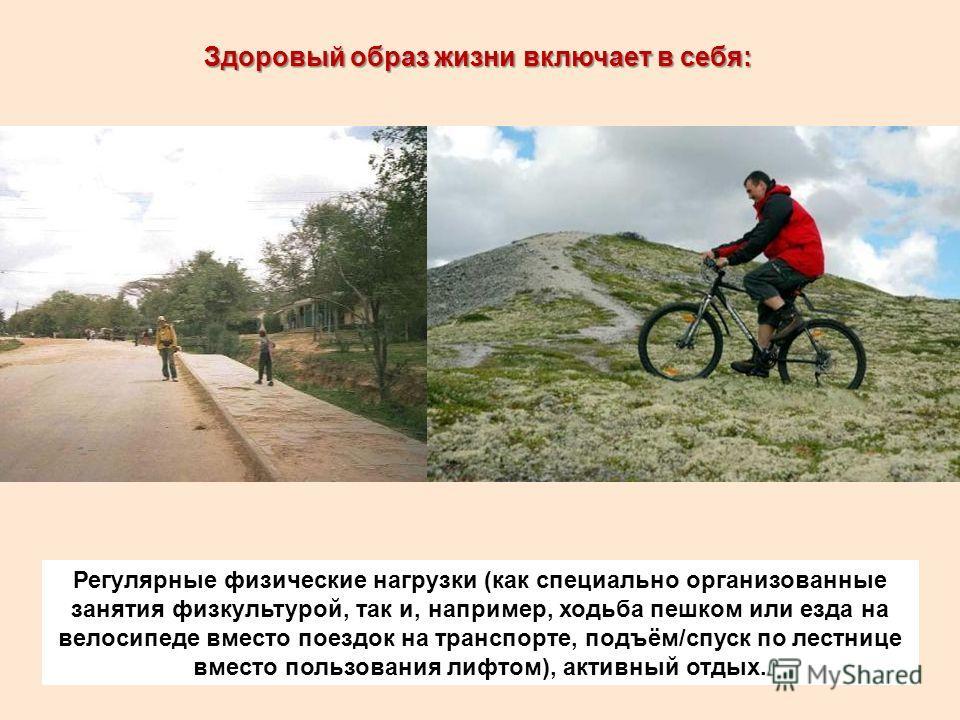 Здоровый образ жизни включает в себя: Регулярные физические нагрузки (как специально организованные занятия физкультурой, так и, например, ходьба пешком или езда на велосипеде вместо поездок на транспорте, подъём/спуск по лестнице вместо пользования