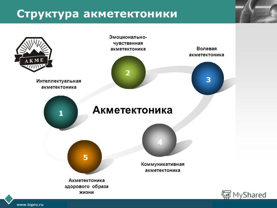 LOGO www.themegallery.com Company Logo www.topro.ru Структура акметектоники 1 2 3 4 5 Акметектоника Коммуникативная акме тектоника Интеллектуальная акме тектоника Эмоционально- чувственная акме тектоника Волевая акме тектоника Акметектоника здорового