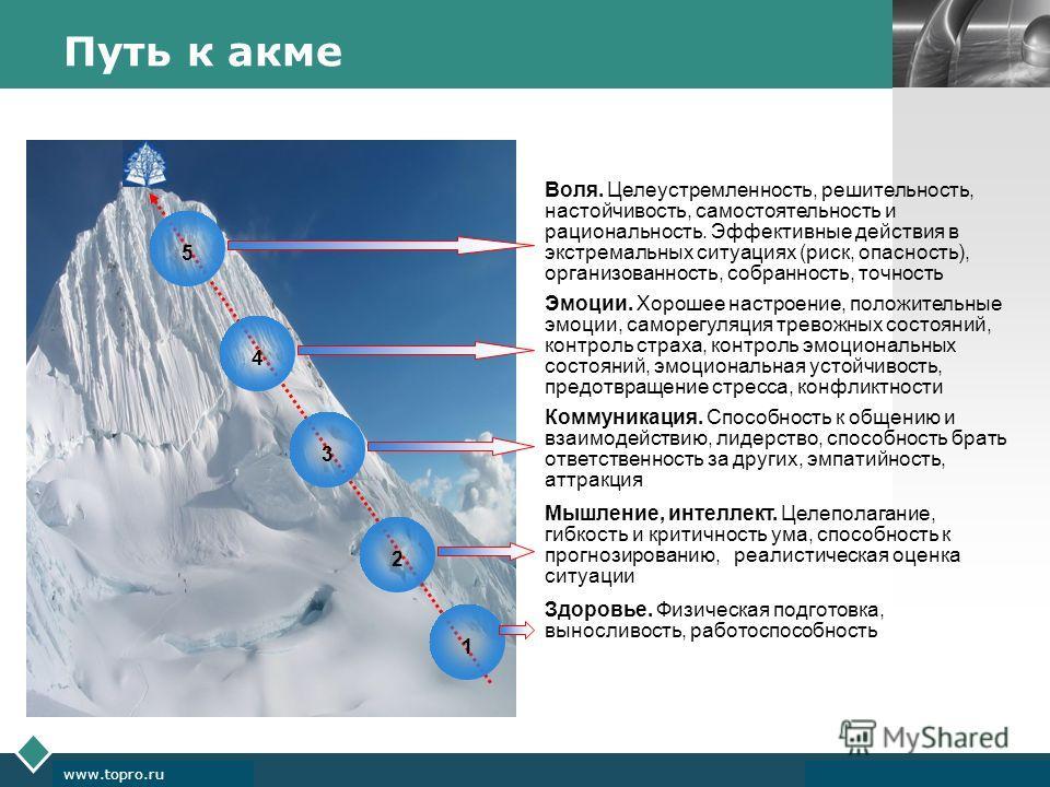 LOGO www.themegallery.com Company Logo www.topro.ru 12345 Путь к акме Здоровье. Физическая подготовка, выносливость, работоспособность Мышление, интеллект. Целеполагание, гибкость и критичность ума, способность к прогнозированию, реалистическая оценк