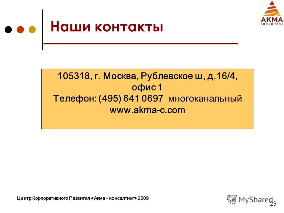 Центр Корпоративного Развития «Акма – консалтинг» 2009 29 Наши контакты 105318, г. Москва, Рублевское ш, д.16/4, офис 1 Телефон: (495) 641 0697 многоканальный www.akma-c.com
