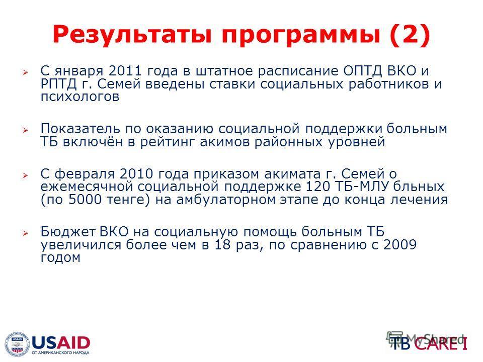 Результаты программы (2) С января 2011 года в штатное расписание ОПТД ВКО и РПТД г. Семей введены ставки социальных работников и психологов Показатель по оказанию социальной поддержки больным ТБ включён в рейтинг акимов районных уровней С февраля 201