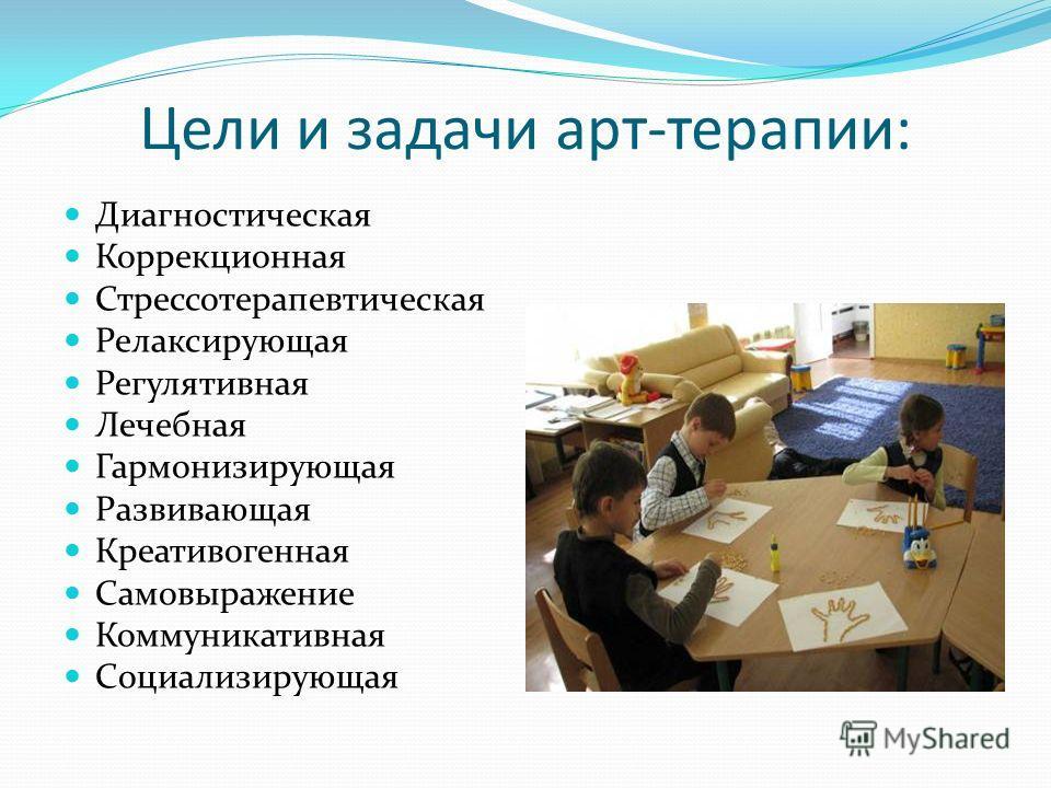 Цели и задачи арт-терапии: Диагностическая Коррекционная Стрессотерапевтическая Релаксирующая Регулятивная Лечебная Гармонизирующая Развивающая Креативогенная Самовыражение Коммуникативная Социализирующая