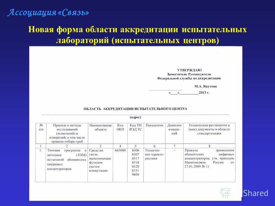 Ассоциация «Связь» Новая форма области аккредитации испытательных лабораторий (испытательных центров)