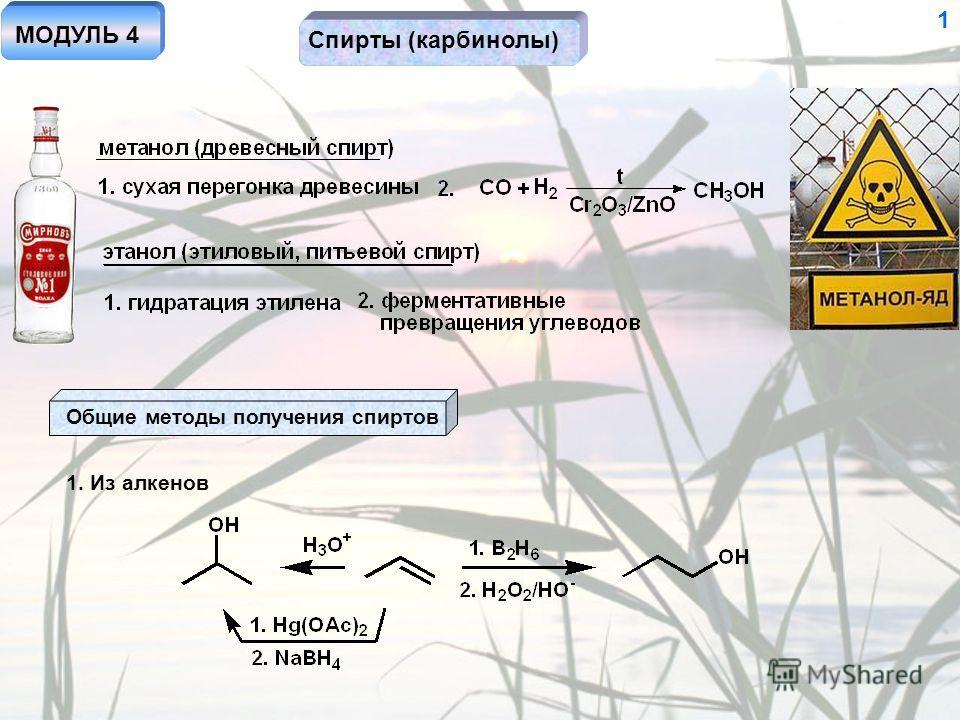 Спирты (карбинолы) 1 Общие методы получения спиртов 1. Из алкенов МОДУЛЬ 4