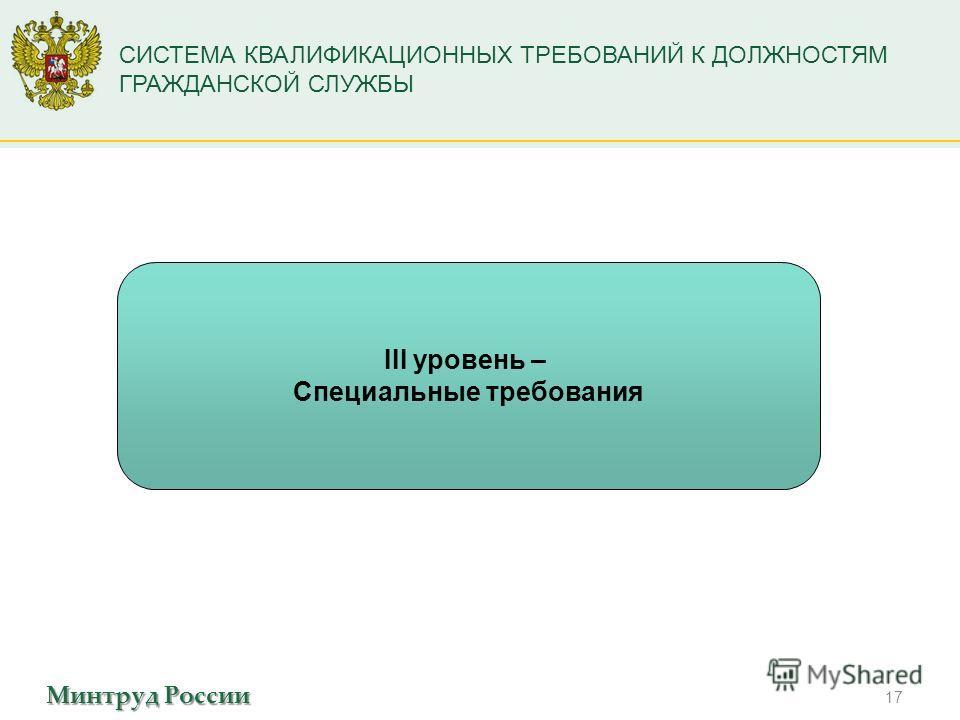 Минтруд России СИСТЕМА КВАЛИФИКАЦИОННЫХ ТРЕБОВАНИЙ К ДОЛЖНОСТЯМ ГРАЖДАНСКОЙ СЛУЖБЫ 17 III уровень – Специальные требования