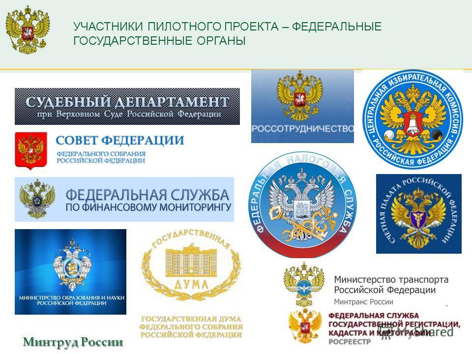 Минтруд России УЧАСТНИКИ ПИЛОТНОГО ПРОЕКТА – ФЕДЕРАЛЬНЫЕ ГОСУДАРСТВЕННЫЕ ОРГАНЫ 3