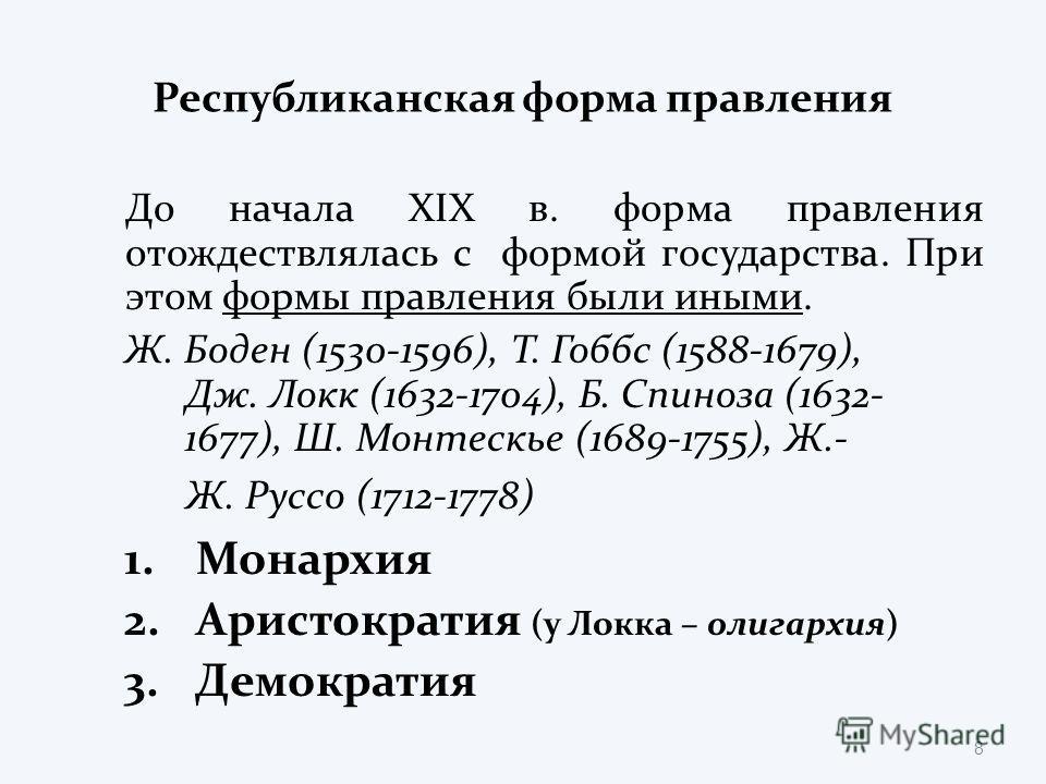 Республиканская форма правления До начала XIX в. форма правления отождествлялась с формой государства. При этом формы правления были иными. Ж. Боден (1530-1596), Т. Гоббс (1588-1679), Дж. Локк (1632-1704), Б. Спиноза (1632- 1677), Ш. Монтескье (1689-