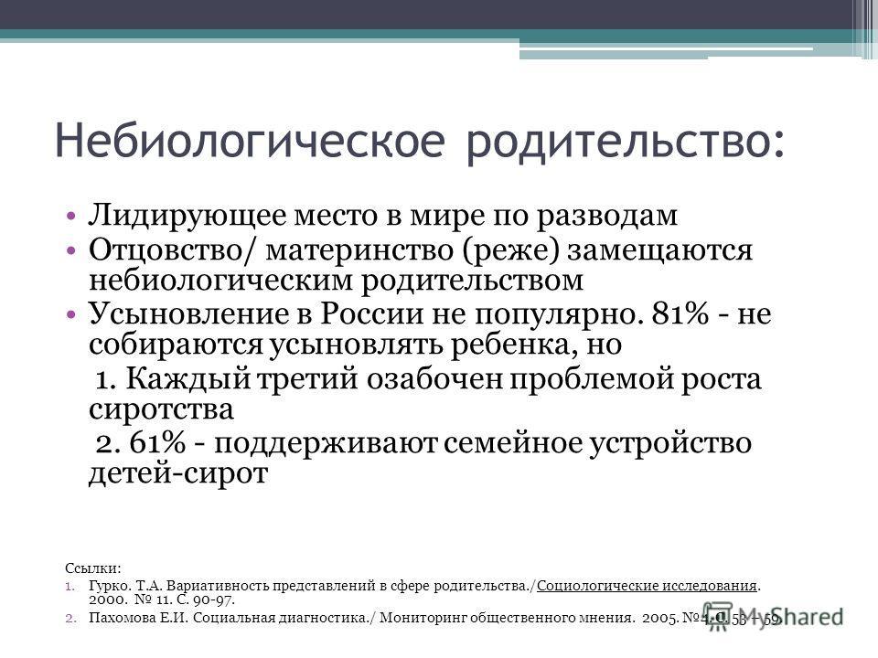 Небиологическое родительство: Лидирующее место в мире по разводам Отцовство/ материнство (реже) замещаются небиологическим водительством Усыновление в России не популярно. 81% - не собираются усыновлять ребенка, но 1. Каждый третий озабочен проблемой