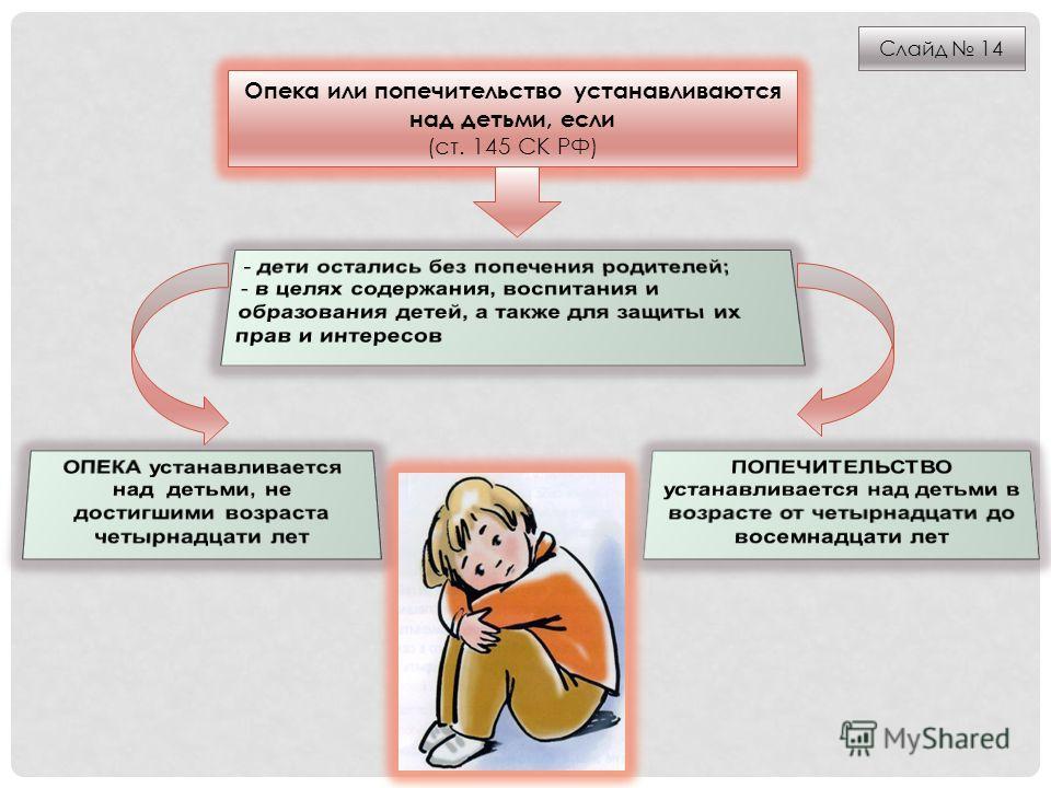 Опека или попечительство устанавливаются над детьми, если (ст. 145 СК РФ) Слайд 14
