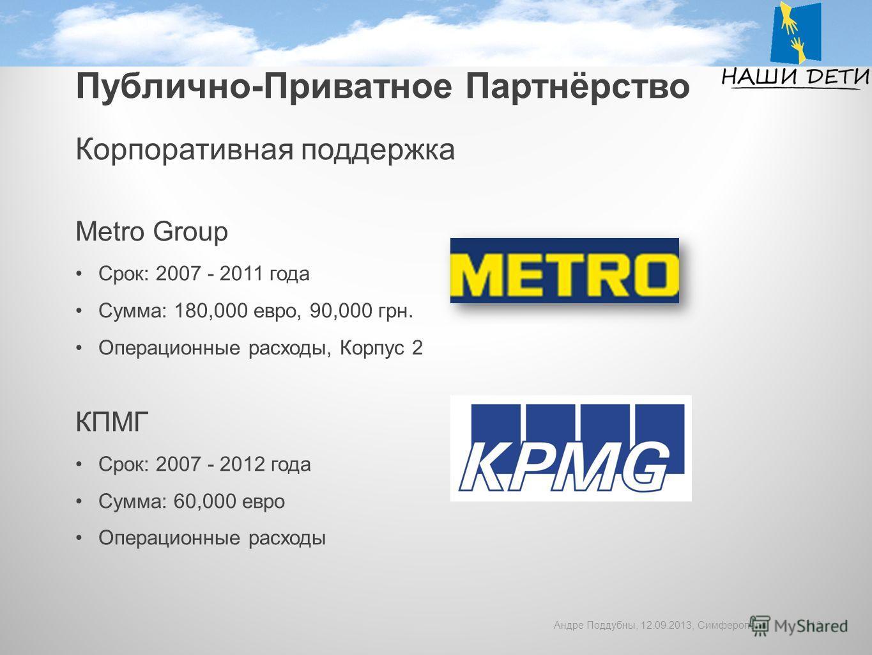Публично-Приватное Партнёрство Корпоративная поддержка Metro Group Срок: 2007 - 2011 года Сумма: 180,000 евро, 90,000 грн. Операционные расходы, Корпус 2 КПМГ Срок: 2007 - 2012 года Сумма: 60,000 евро Операционные расходы Андре Поддубны, 12.09.2013,