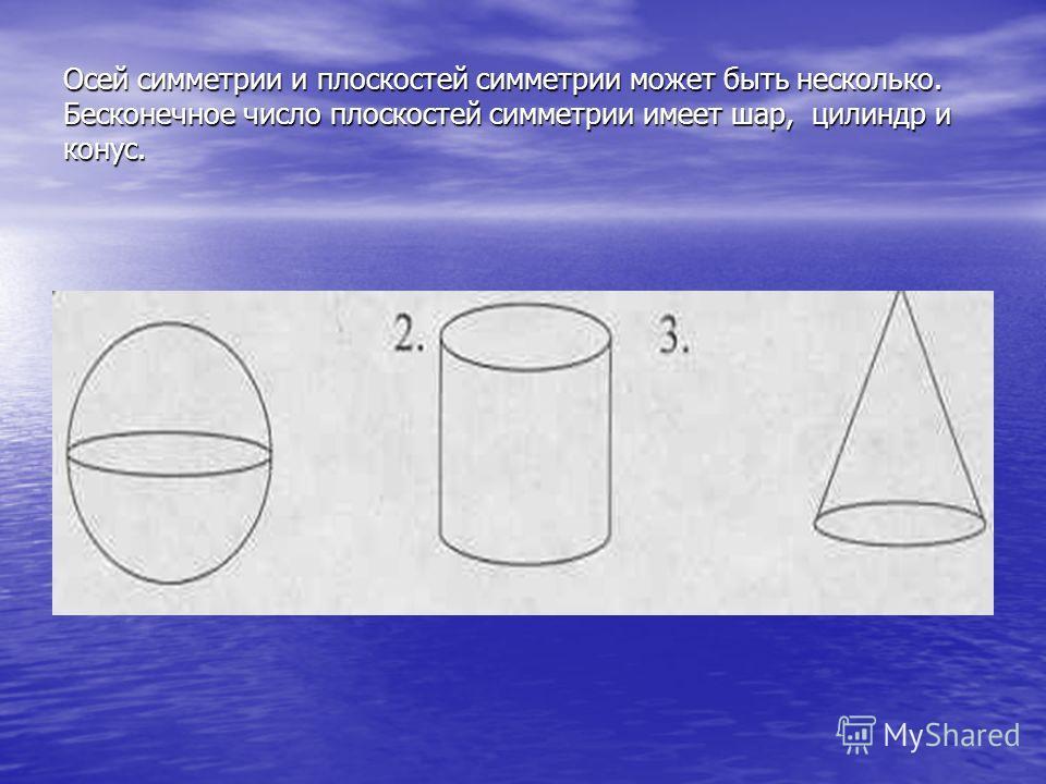 Осей симметрии и плоскостей симметрии может быть несколько. Бесконечное число плоскостей симметрии имеет шар, цилиндр и конус.