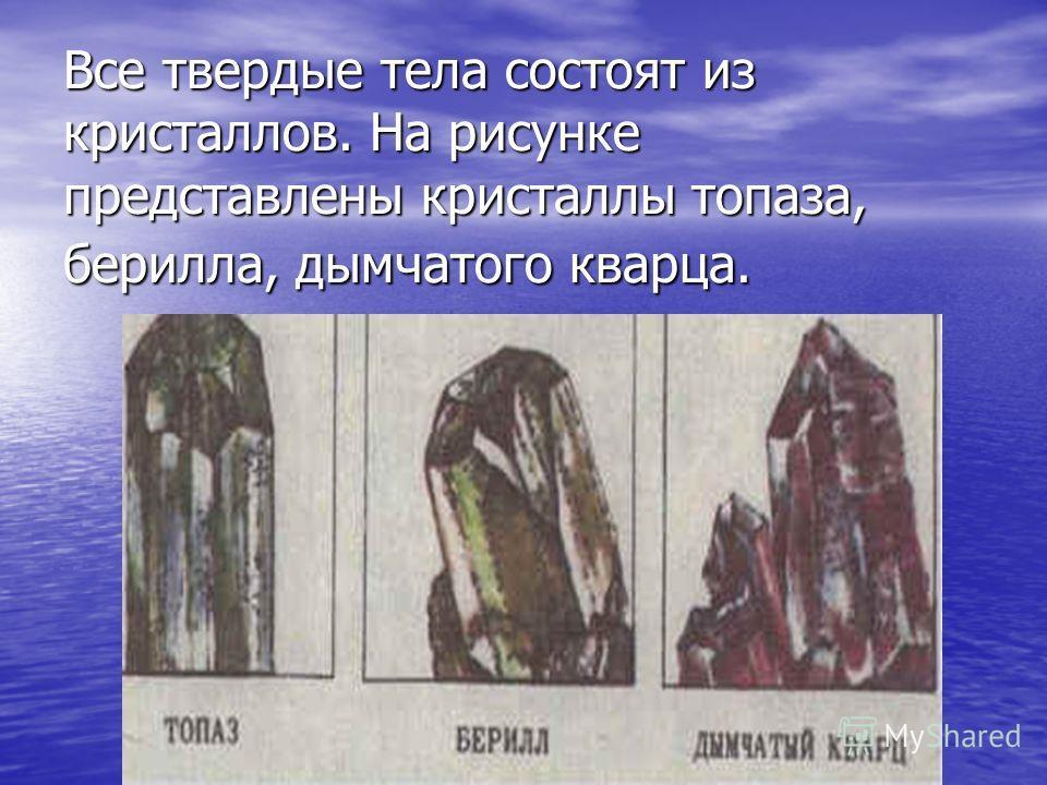 Все твердые тела состоят из кристаллов. На рисунке представлены кристаллы топаза, берилла, дымчатого кварца.