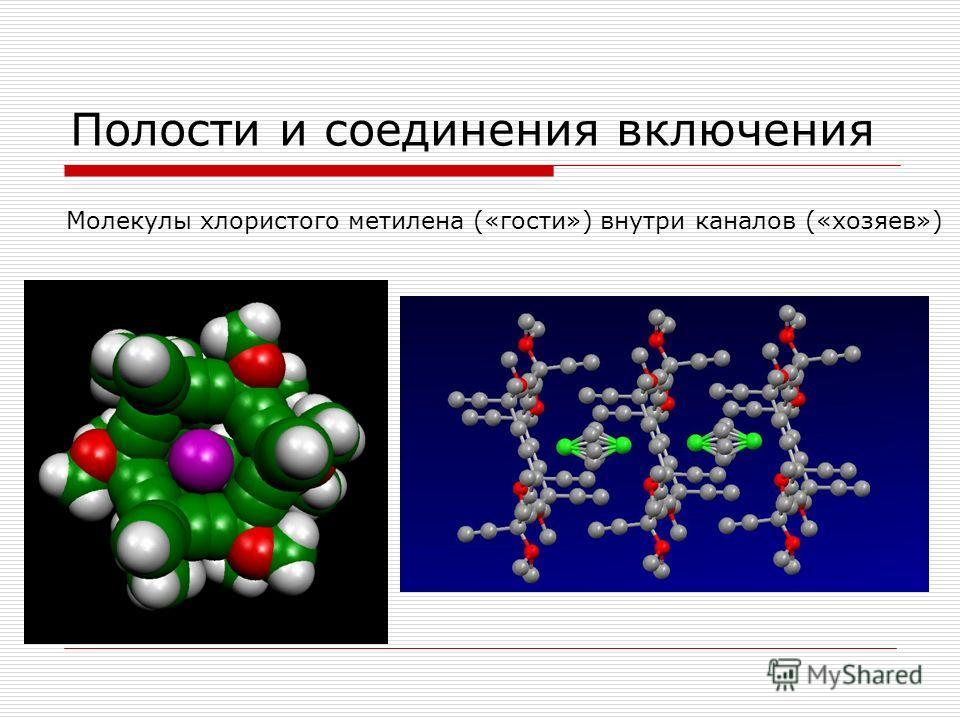 Полости и соединения включения Молекулы хлористого метилена («гости») внутри каналов («хозяев»)